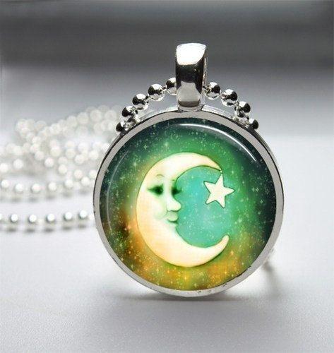 Moon Necklace Moon Pendant Moon Jewelry Glass by jennspendants, $8.00