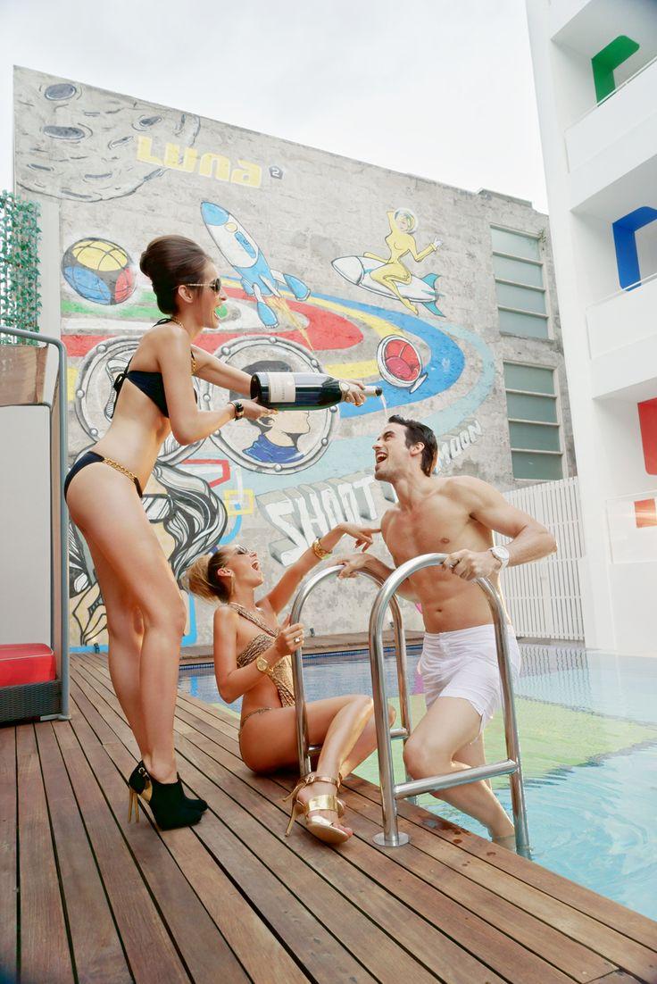 Champagne showers at Luna2 studiotel, Bali. Design and styling by Melanie Hall. #champagne #luna2 #bali #melaniehalldesign