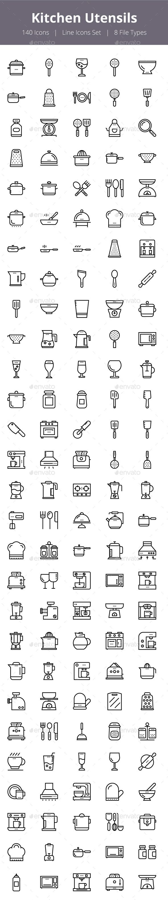 125+ Kitchen Utensils Line Icons