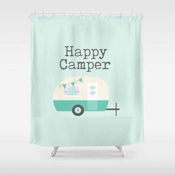 Happy Camper Typography Shower Curtain Vintage Camper Print Lake House Cabin Decor Mint And Beige Deco Custom Bath Unique Shower Curtain Vintage Camper