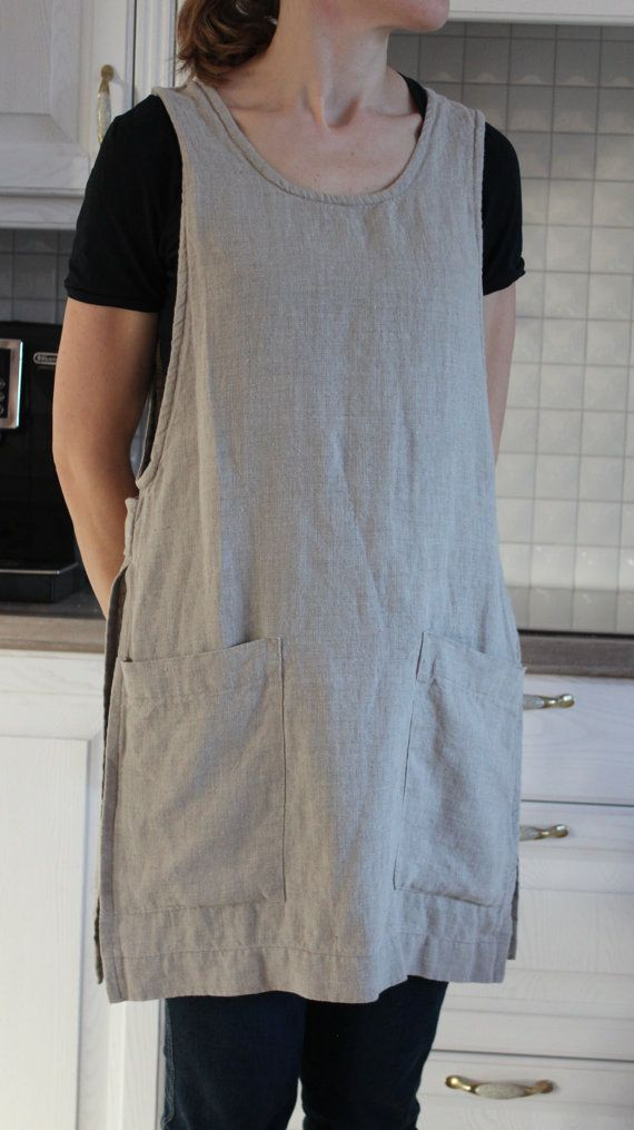 OldWallLinen - for your daily linen settings to be encouraged.  This apron is handmade from 100 % natural linen.  Washed linen apron is a functional and long lasting. An apron has two comfortable side pockets.  This apron is perfect for the kitchen, garden, craft room or a stylish gift.  Feel the simplicity of linen!  Details: - 100% Lithuanian linen; - medium weight linen; - color in foto: natural grey linen; - handmade by OldWallLinen; - care: machine wash gentle.  The sizes: XXS,XS,S,M,L…