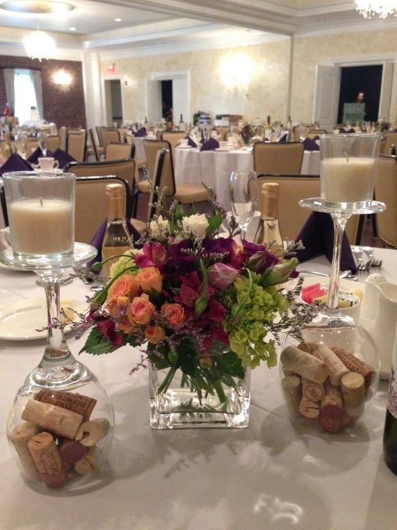 Wine themed centerpieces cork filled upside down