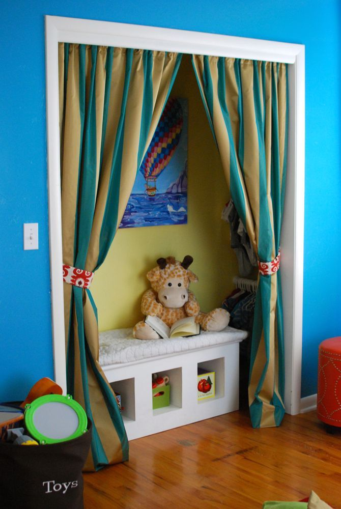 Closet Door Alternatives Ideas closet door makeover with fabric Cute Closet Alternative To Include A Reading Nook And Hanging Space Without Ugly Bifold Doors