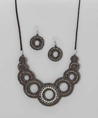 Grey & Silver Mandala Bib Necklace & Drop Earrings #zulily #zulilyfinds