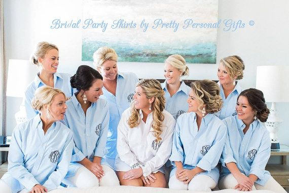 Beautiful Bridal Party Shirts - Over Sized White or Blue Oxford Button Down Wedding Day Shirt with monogram. Our monogrammed bridal party shirt is not only a fun new wedding trend, it makes a great bridal party gift. Also called a getting ready shirt or a wedding day shirt, this classy & functional mens long sleeve button down dress shirt perfect for the bridal party to wear while getting ready on the wedding day. It allows you to comfortably go out in public without numerous wardrobe…