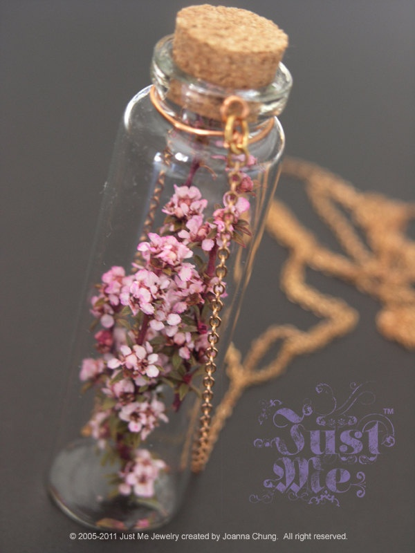 Just Me Best Seller - LAST ONE - Dried Pink Diamond flower glass bottle necklace 30 inches. $36.00, via Etsy.