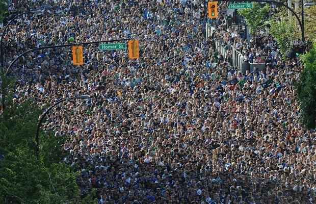 Vancouver Canucks fans fill Homer Street