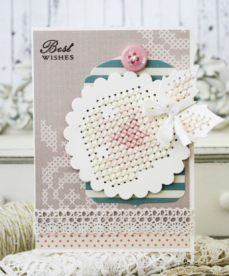 Regency Era: Needlepoint Elegance - Best Wishes Card by Melissa Phillips for Papertrey Ink (August 2014)