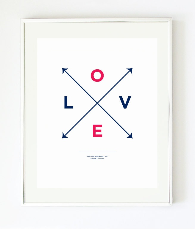 Love X Type Print - Navy & Coral Graphic Print by Pretty Chic on etsy