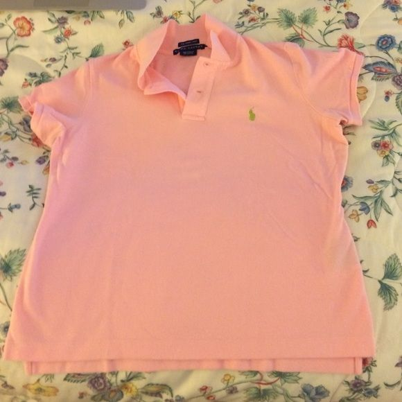 Ralph Lauren pink and green polo shirt Slight piling at back right (see photo) and under right arm. Otherwise great! Skinny polo so this L fits like a medium Ralph Lauren Tops