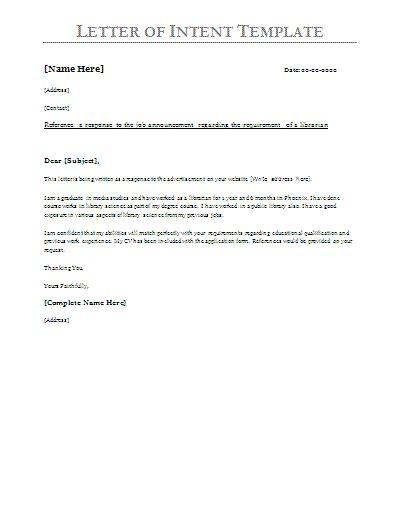 Printable Sample Letter Of Intent Sample Form