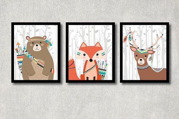 Tribal Animals Set Printable Nursery Wall von ColorfulCloudStudio