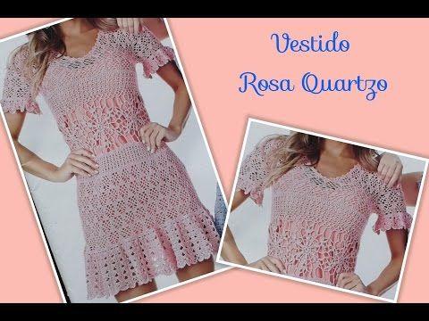 Versão destros: Vestido Rosa Quartzo em crochê tam. M ( 1°parte) # Elisa Crochê - YouTube