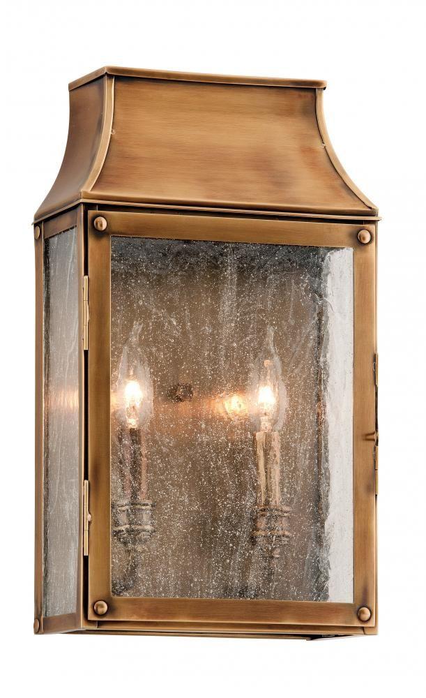 Two light brass outdoor wall light
