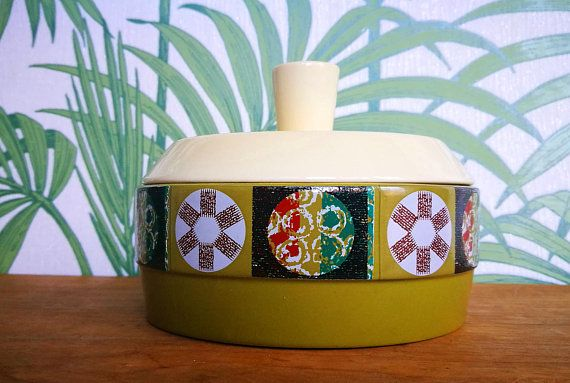 Mid century modern Carlton Ware Carltonware Tapestry pattern butter dish cheese dish with lid 1960s Carlton Ware retro dish Mid century home