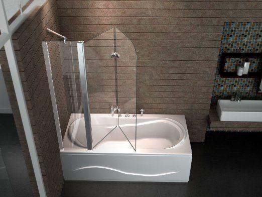 Bi-fold non-gut-busting (but difficult reach to faucet if on knees) 3-panel shower pane:  Echt Glas 6 mm Duschabtrennung Duschwand Faltwand Badewanne 150 x 140 cm TRIPLE: Amazon.de: Baumarkt
