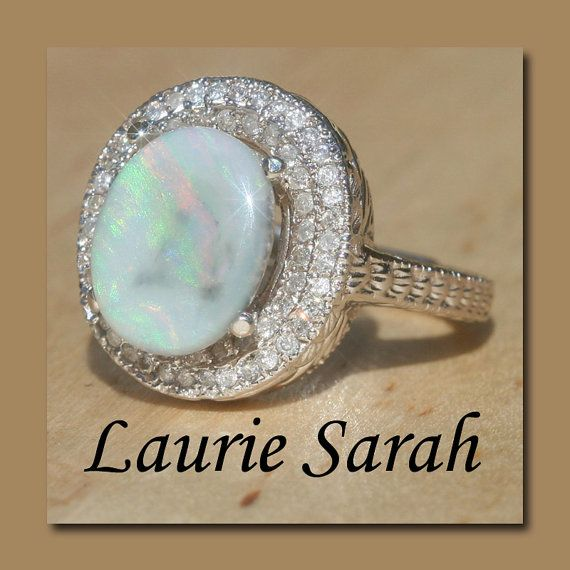 Engraved Opal and Diamond Engagement or by LaurieSarahDesigns, $2947.95
