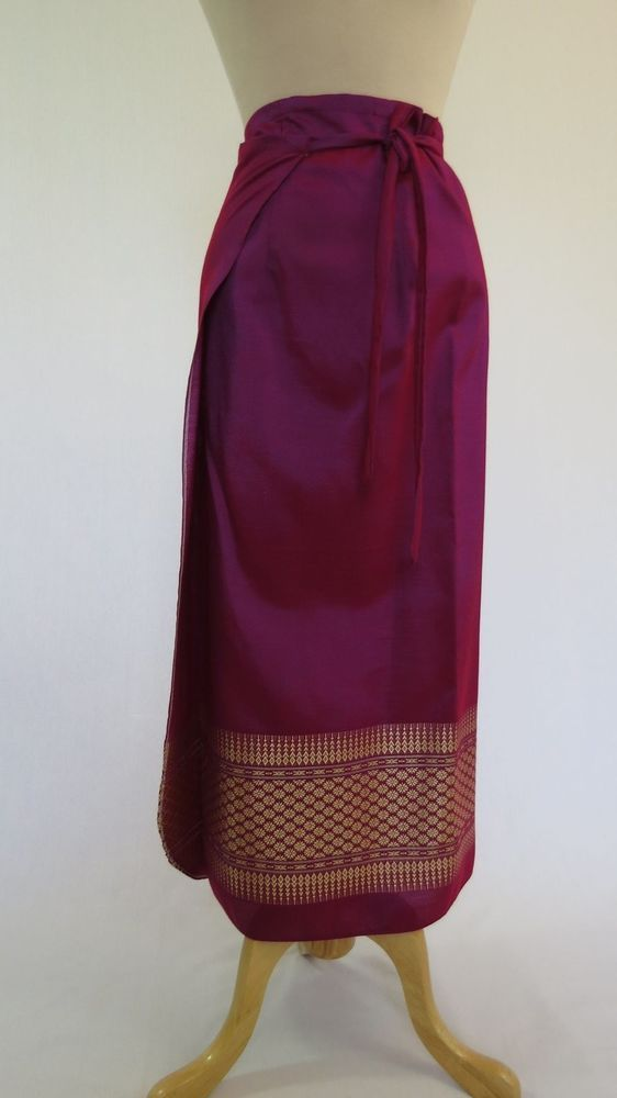 Long Thai Wrap Skirt - Magenta with Gold Border - One Size #Sarong #Skirts