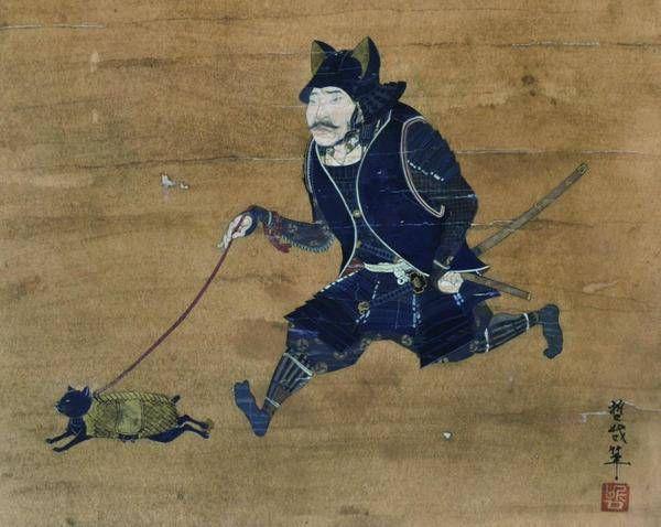 "Tetsuya Noguchi ""Kimono Takeyu cat walk walking round figure"" 2008 paper Acrylic coloring 59.5 × 36.0 cm (private collection)"