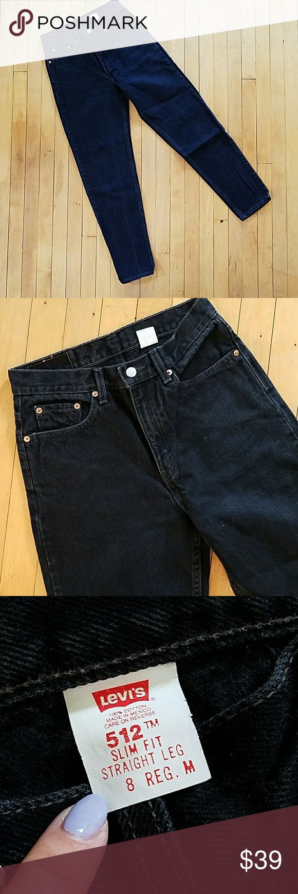 "Vintage Levi's 512 Mom Jeans Vintage Levi's 512 Mom Jeans 1980s 1990s vintage Highwaisted high rise Levi's 512 Jeans. Slim fit. Tapered Leg. Black wash rinse. Size 8 reg M. Please check mesurements for proper fit.   Waist 13"" Thigh 11"" Rise 11.5"" Inseam 29"" Hip 19"""" Leg opening 6.5"" Measurements taken while jeans laid flat. Please use measurements as size guide.  Model photo for style inspiration, not actual jeans. Excellent condition. Levi's Jeans"
