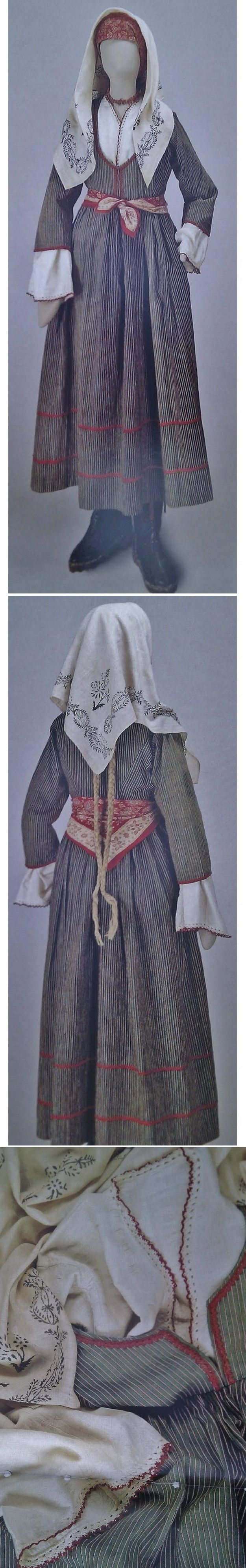 Traditional poor people's clothing ('with foustani') from Cyprus. Greek, clothing style: early 20th century.