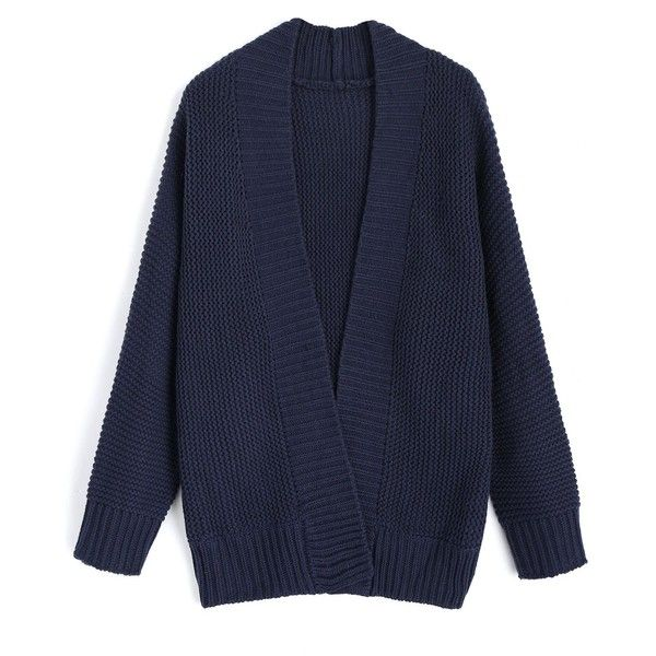 Purplish Blue ONE SIZE Open Front Long Sleeve Loose Cardigan ($16) ❤ liked on Polyvore featuring tops, cardigans, blue top, long sleeve cardigan, loose tops, open front cardigan and cut loose tops