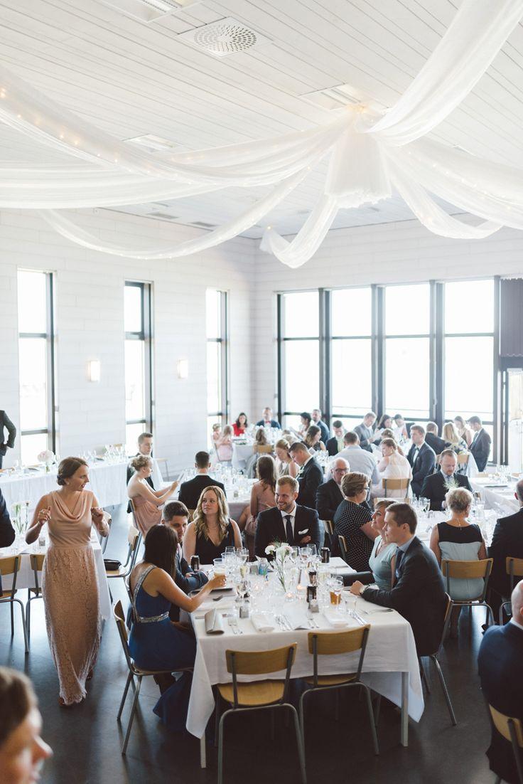 white tulle wedding reception ceeling decor Julia Lillqvist | Nina and Benjamin | bröllop Korsholms kyrka | http://julialillqvist.com