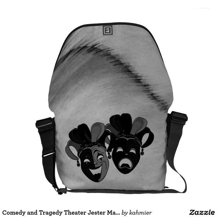 Comedy and Tragedy Theater Jester Masks Silver Courier Bag  20% off