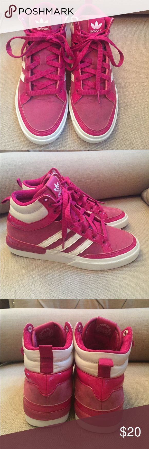 Adidas sneaker Fuchsia  color high tops. Very cute. Worn for a full season. They are a 5 kids but fit like a  6 1/2 woman's Adidas Shoes Sneakers