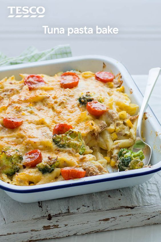 Dig in to this cheesy tuna pasta bake for the ultimate easy comfort food. This tasty pasta recipe makes the most of store cupboard and freezer ingredients, with chunks of tuna and colourful veg all wrapped up in a creamy sauce. | Tesco
