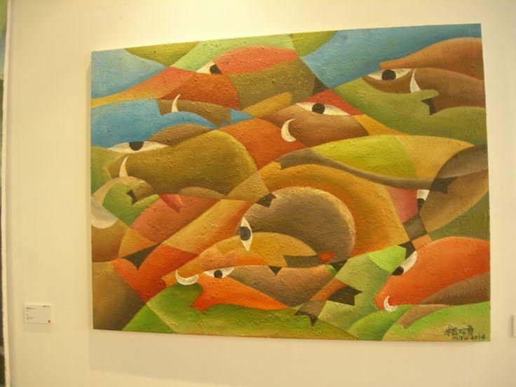 原住民的畫有一種生命力 色彩也很鮮艷飽滿 又是用幾何圖形表現的 我覺得很流暢很富美感