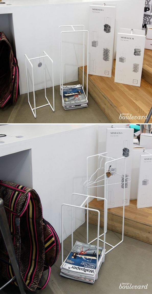 Mixrack -teline newspaper stand or even for storing empty bottles for recycling, designed by Tapio Anttila.