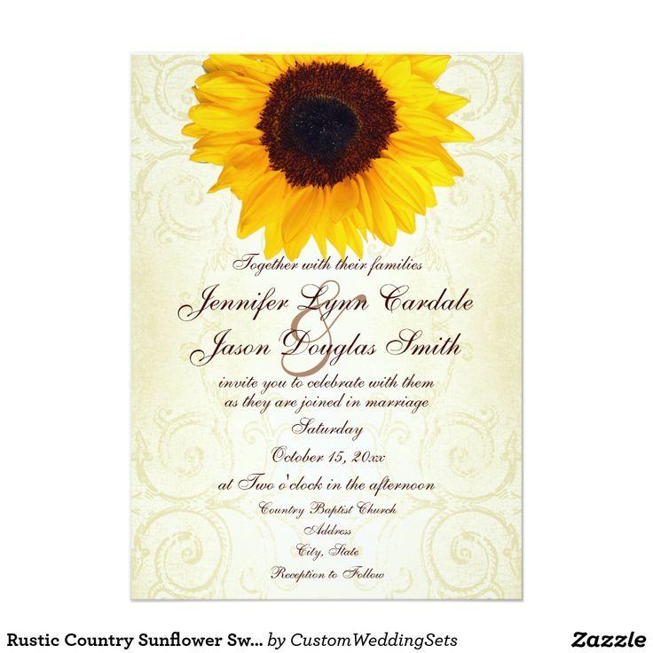Rustic Country Sunflower Swirls Wedding Invitation
