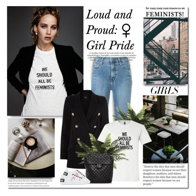 """""""Loud and Proud: Girl Pride"""" by lilly-2711 ❤ liked on Polyvore featuring Prada, Nobody Denim, River Island and Chanel"""