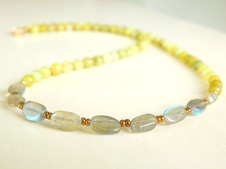 Labradorite Beaded Necklace, Beaded Necklace, Gold filled beads, Seed Beads, Boho Chic by jljewellerydesign on Etsy