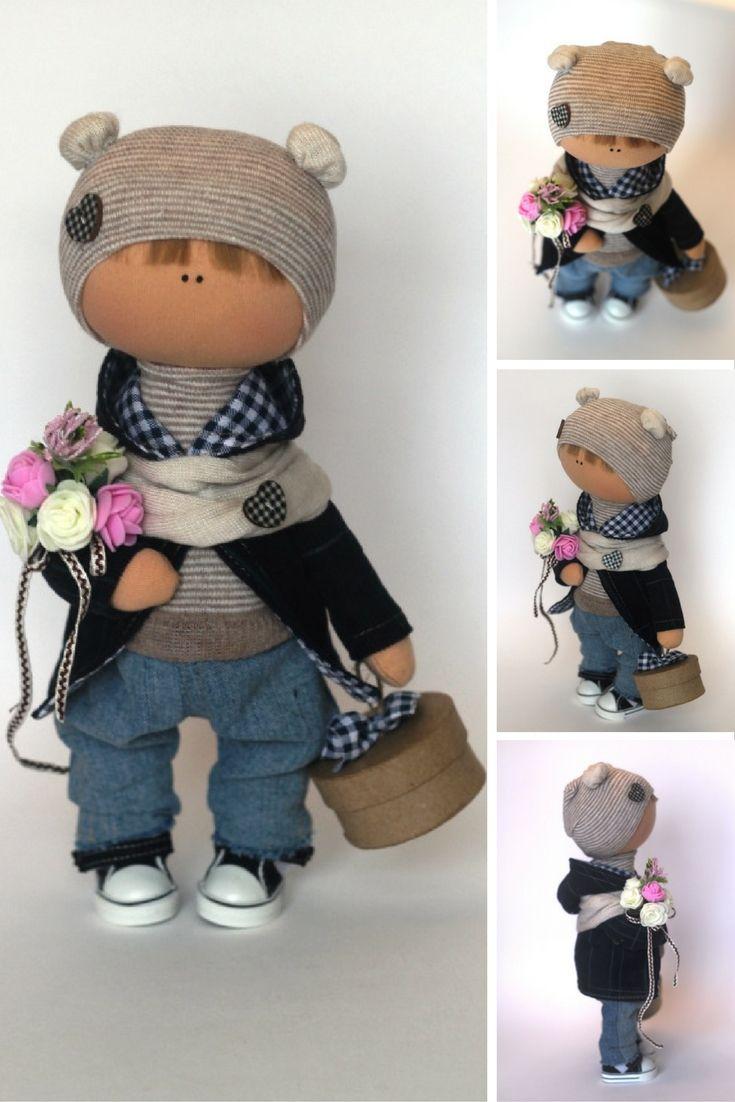 Boy doll Tilda doll Teenager doll handmade grey blue color Soft doll Fabric doll…