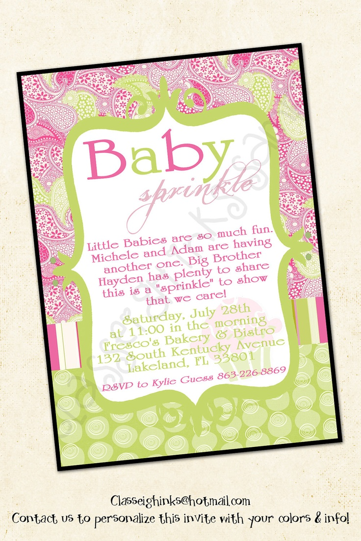 Paisley Print Sprinkle Baby Shower Invitation Boy Or Girl