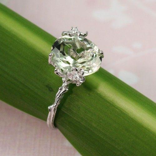 Beautiful Sterling Silver Oval Green Amethyst Ring - gemstone ring tooriginal