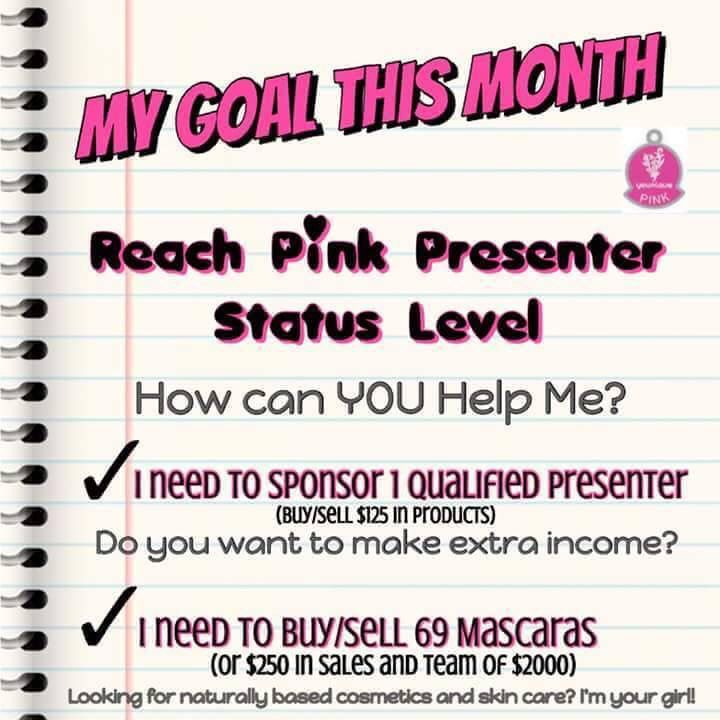 I'm really trying to move forward with Younique and I need your help. In order to move to the next level I need 1 more person who's interested in making an extra income.   OR  If you'd like to help me but you don't want to be a presenter....buying from me can also get me to my goal. I am $1,340 away from hitting the Pink Status goal of $2,000.  If you'd like to become a presenter hit my inbox so we can chat. If you're in the market for natural and amazing makeup hit my website.