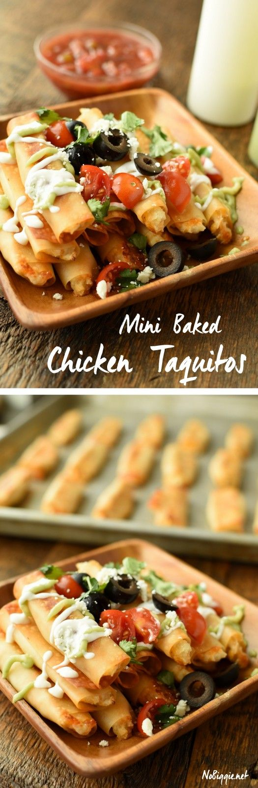 Mini Baked Chicken Taquitos - made with wonton wrappers these are so fast and easy! Watch the video! | NoBiggie.net via @nobiggie