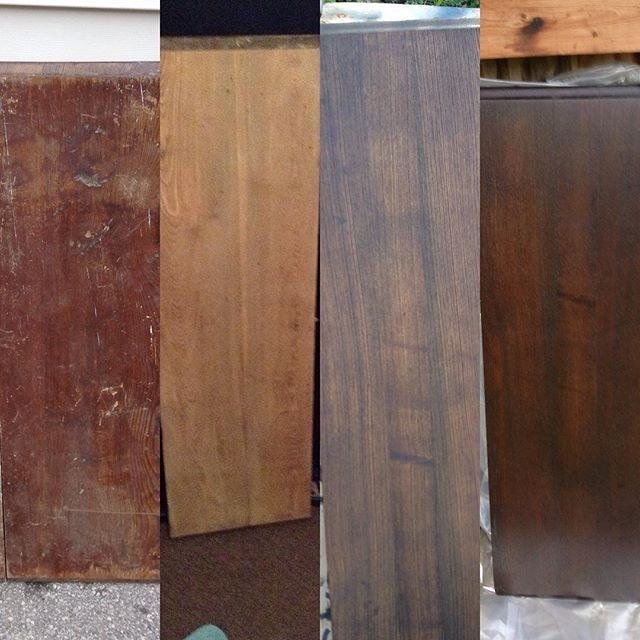 Grungy table leaf...sanded bare wood...3 coats stain...finished product hand waxed shelf. #diy #reclaimedwood #newtome