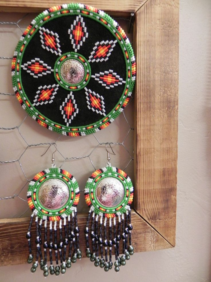 Native American Hand Crafted Seed Bead Earrings and Barrette Set