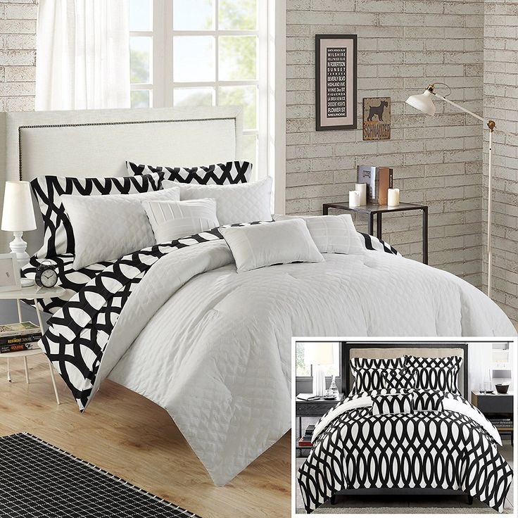 black and white comforter sets queen chic home 8 piece holland diamond quilted embroidered with reversible printed backside twin bed in a bag