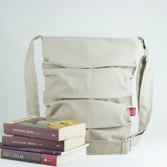 Beige / handmade / small bag / daily use / pleated / long strap / crossbody / shoulder bag / tote bag / purse / diaper bag / teen girl  by hippirhino