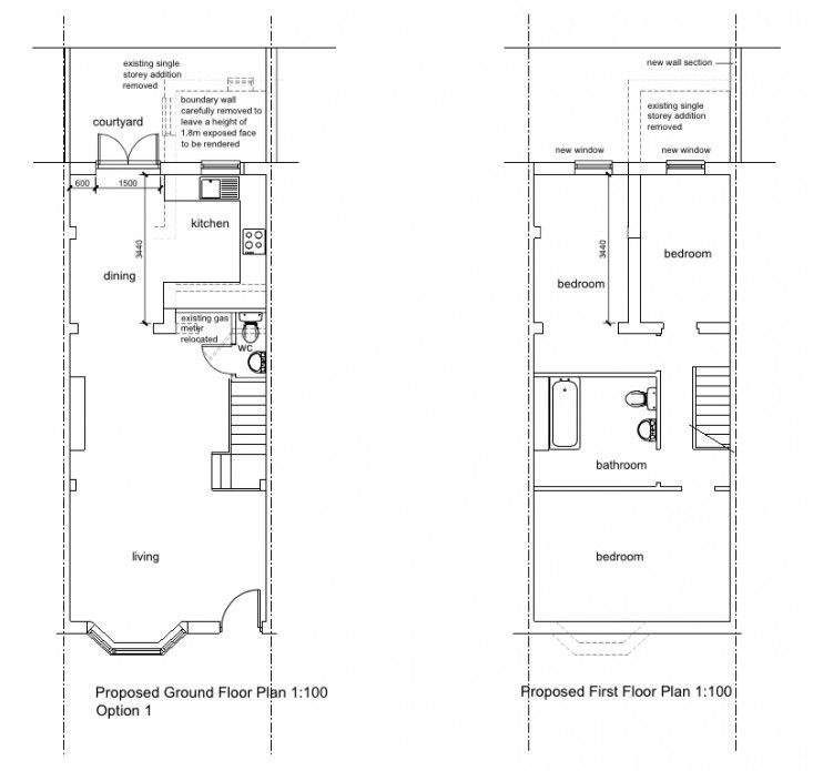 Above: The Proposed Changes On Both Floors. In The Kitchen, The Plan Was