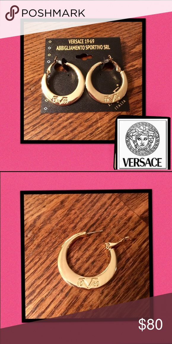 """🆕Versace🇮🇹19V69🇮🇹Logo Hoop Earrings Authentic🇮🇹Versace 19V69 Abbigliamento Sportivo❤Luxury and elegance❤ 1 1/4"""" hoops are crafted of high polished sterling silver❤(10k gold overlay) Logo 🇮🇹19V69 🇮🇹is embossed on each hoop🚫trades Versace Jewelry Earrings"""