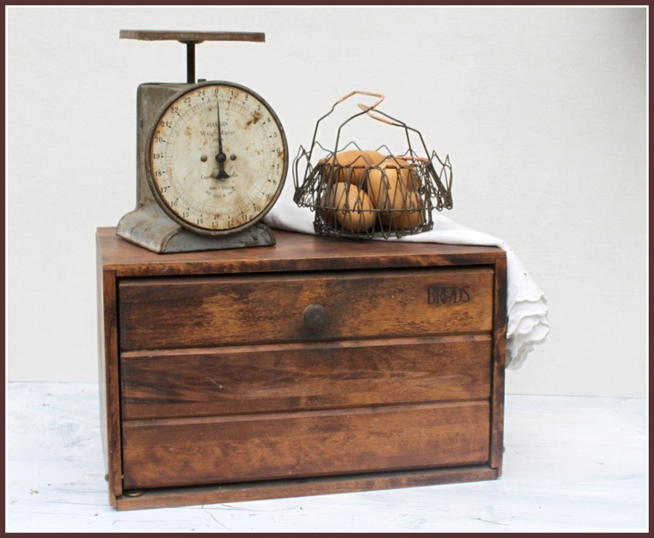Vintage bread box and scale... Love this bread box: simple, rustic and beautiful