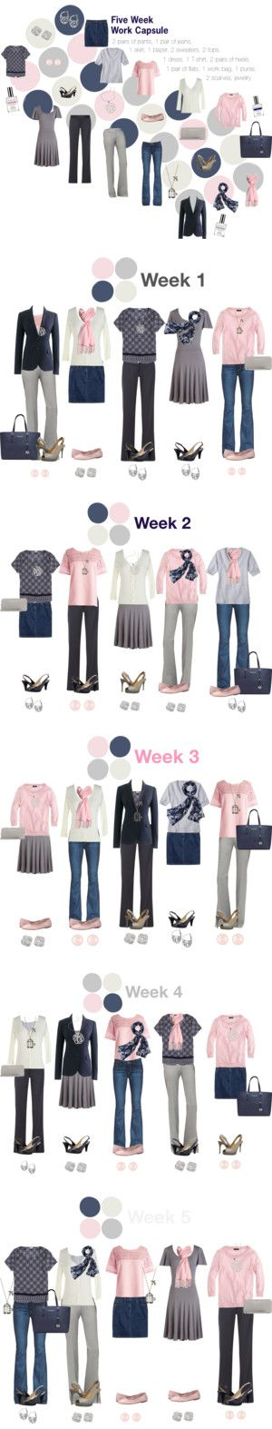 """Work Capsule Wardrobe: Pink, Grey & Navy"" by kristin727 on Polyvore"