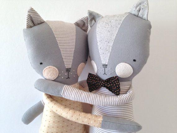 luckyjuju in love kitty cat lovie dolls by luckyjuju on Etsy