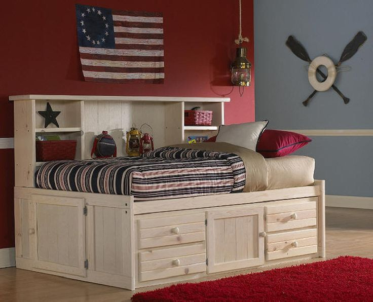 Gracie Twin Size Big Bookcase Captain's Bed
